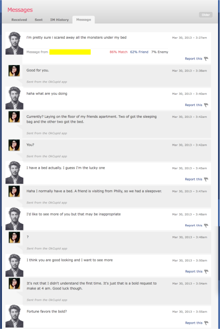 OkCupid message exchange